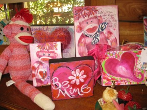 little paintings, little Valentine's gifts