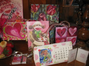mermaid calendar with valentine and sock monkey painting