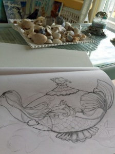 Mermaid teapot study at Starboard